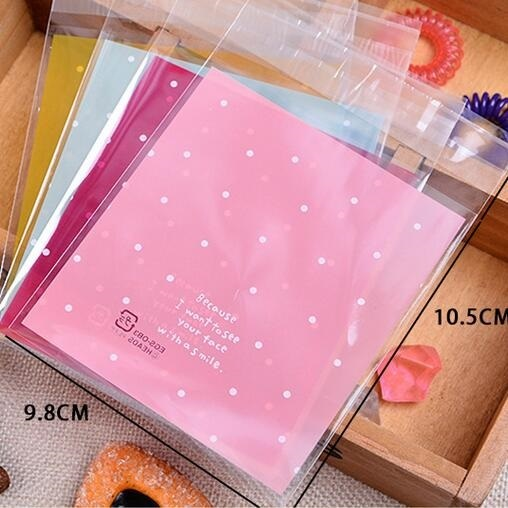 100pcs/Lot Card Holders Pink or Blue with dots Self-adhesive Gift Food Packing bag Cute Small Biscuit Plastic Bag 10x10cm