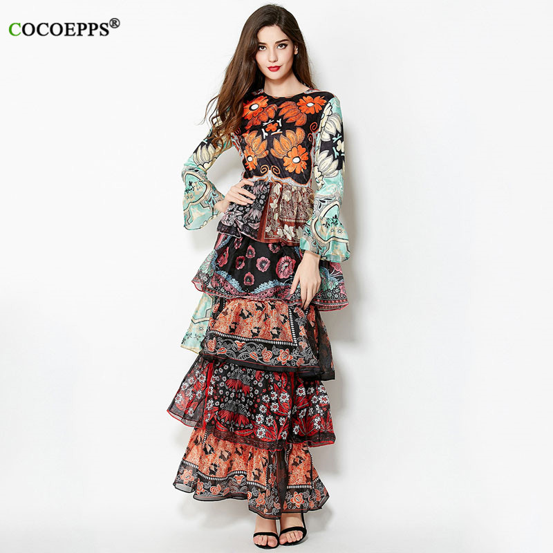 0e465f4565c4 COCOEPPS Cascading Long Sleeve Maxi Dress Zippers Printed Formal Dresses  Party Long Brand Dress Flower Casual Womens Clothing-in Dresses from  Women s ...