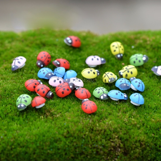 Delicieux 10Pcs Colorful Beetle Ladybug Garden Ornament Figurine Miniature Dollhouse  Decor