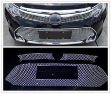 Car Styling!!S.Steel Honeycomb Mesh Front Grille Bezel Cover Trim for Toyota Camry 2015 New(Don't fit for North American Model)