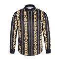 2017 Новый Осенняя Мода Марка Мужчины Одежда Slim Fit Мужчины Длинные рукавом золотой цепи печатных Высокого класса Мужчины Рубашка Плюс Размер M-2XL