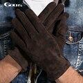 Gours 2016 New Winter Long Genuine Leather Gloves Men Suede Black Warmer Touch Screen Gloves Brand Goatskin Mittens Luvas GSM023