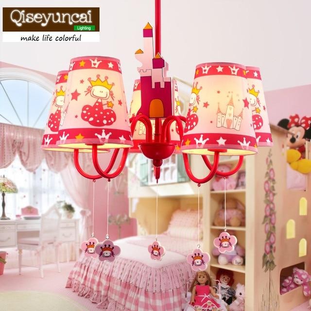 Qiseyuncai Children S Room Cute Cartoon Led Chandelier Bedroom Personality Baby Warm Pink Princess Light