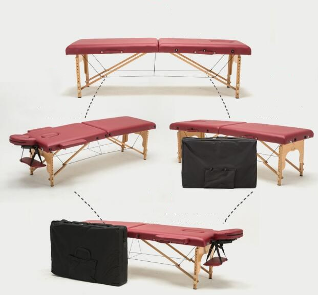 Portable Folding Massage Bed with Carring Bag Professional Adjustable SPA Therapy Tattoo Beauty Salon Wooden Massage Table Bed цена и фото