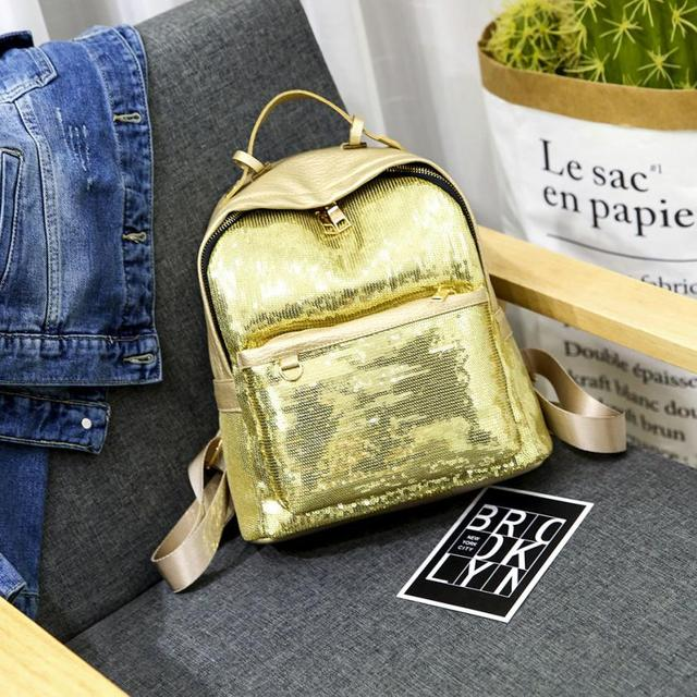 afd6fd21b59f 2018 latest female fashion PU leather sequins backpack solid color casual  bag mini bag+Hand bag  F