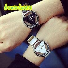 Irisshine i0234 пара унисекс часы уникальные выдолбленные с треугольным циферблатом модные часы для мужчин и женщин подарок для влюбленных