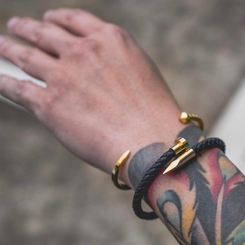 Mcllroy encantos pulseras 8mm Natural pulseras de piedra de negro/marrón de cuero pulsera de uñas de cuero de los hombres brazalete de joyería 2018