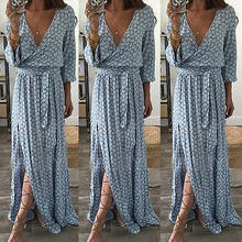 cd543d1203f Boho floral print split long dress Women beach summer v neck kimono sexy  dress Eleagnt sash wrap maxi dresses S-2XL