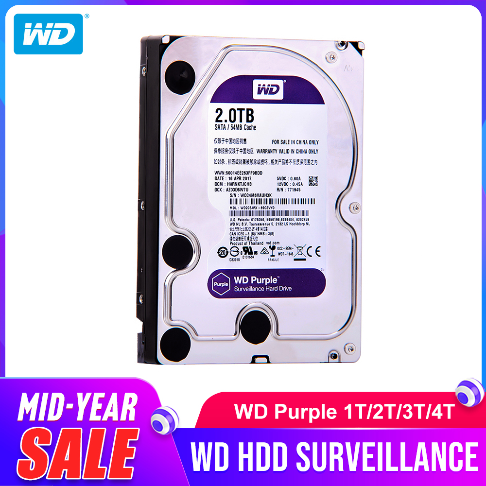 Western Digital WD Purple HDD 1 to 2 to 3 to 4 to SATA 6.0 Gb/s 3.5