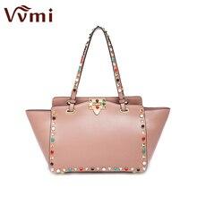 Vvmi women bag single shoulder colorful rivet handbags female famous brands luxury designers handbags new fashion