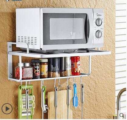 Placeholder E Aluminium Frame Wall Microwave Oven Shelf 2 Layer Support To Receive The Rack