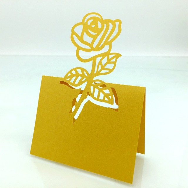 100pcs Laser Cut Gold Rose Wine Wedding Party Guest Name Mark Paper Cards Favors Laser Cut Place Cards Table Decoration DIY