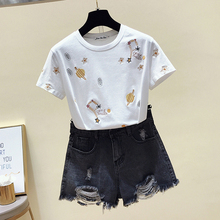 White T shirt Women Clothes Summer Short Sleeve Embroidery Vintage TShirt Female Tops Casual Black Tee Shirt 2019