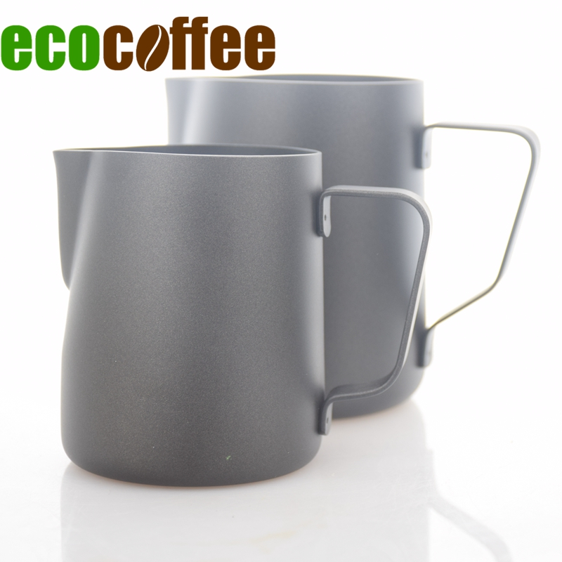 Ecocoffee New Milk Teflon Frothing Pitcher Stainless Steel Milk Espresso Steaming Pitchers for Espresso Machines Late 350/600MlEcocoffee New Milk Teflon Frothing Pitcher Stainless Steel Milk Espresso Steaming Pitchers for Espresso Machines Late 350/600Ml