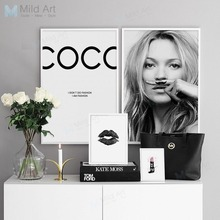 Купить с кэшбэком Black and White Fashion Girl Posters Prints Minimalist Quotes Wall Art Pictures Nordic Style Room Home Decor Big Canvas Painting