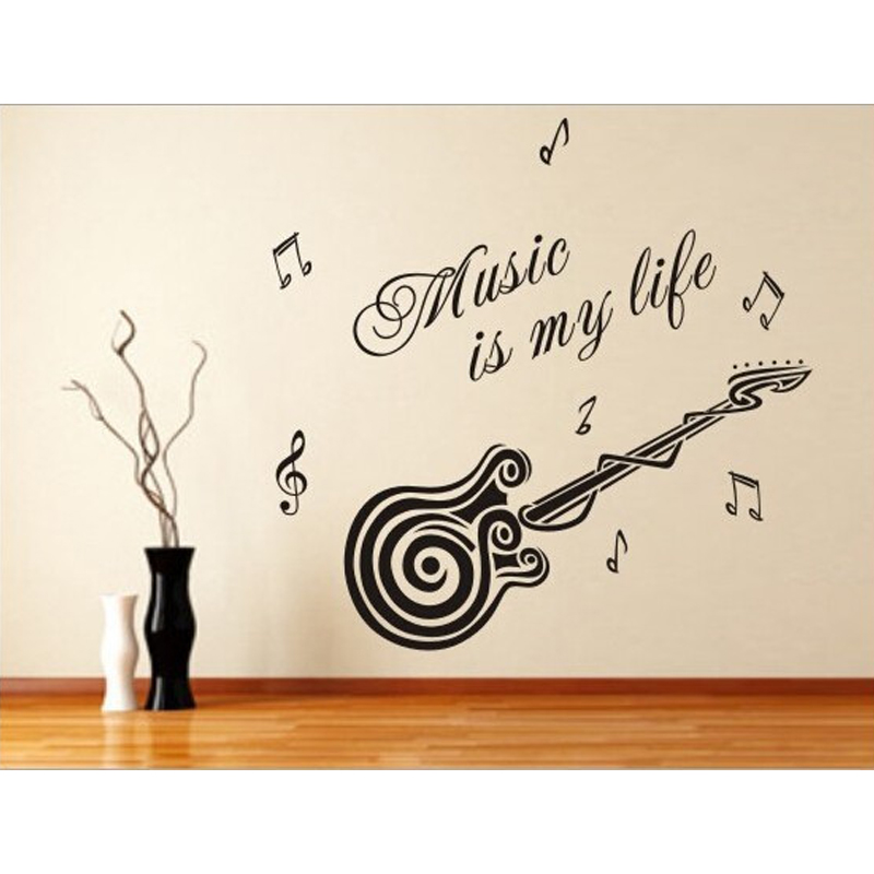 Free shipping guitar music is my life quote living room
