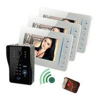 7 дюймов Многофункциональный Интерком 1v3 проводной видео домофон Поддержка внешний Камера