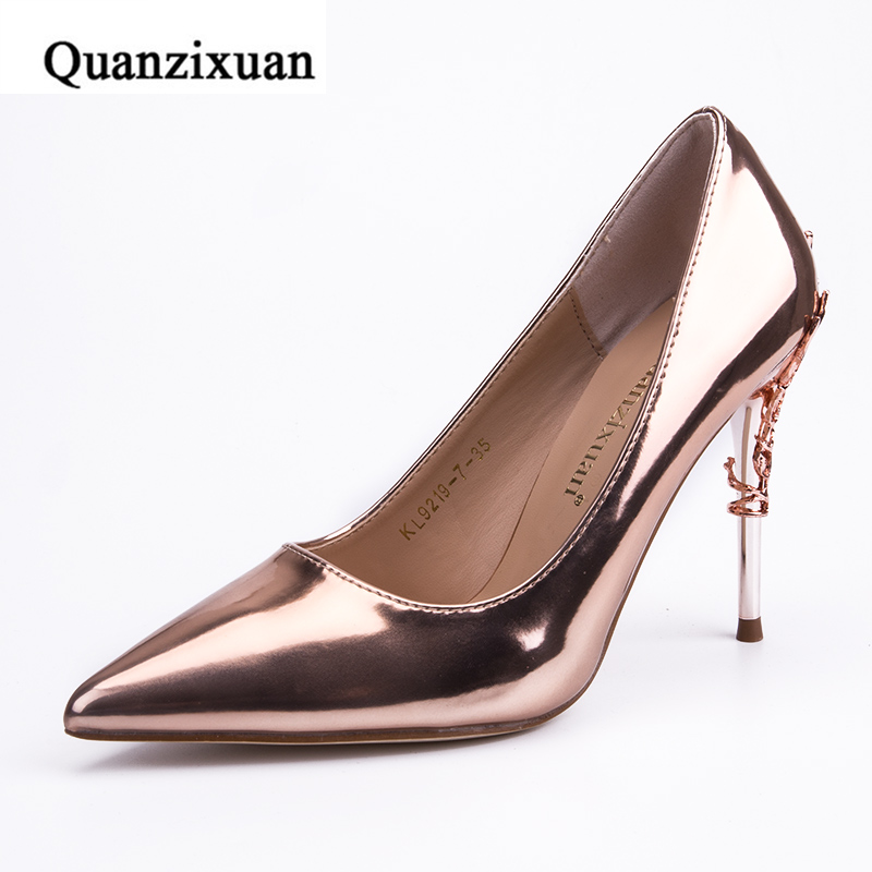 Quanzixuan New Hot Brand Womens Shoes High Heels Women Pumps Flower Metal Heel Patent Leather Sexy Prom Wedding Shoes brand women shoes high heels 12cm sexy pumps shoes for women patent leather high heels wedding shoes woman high heel b 0054