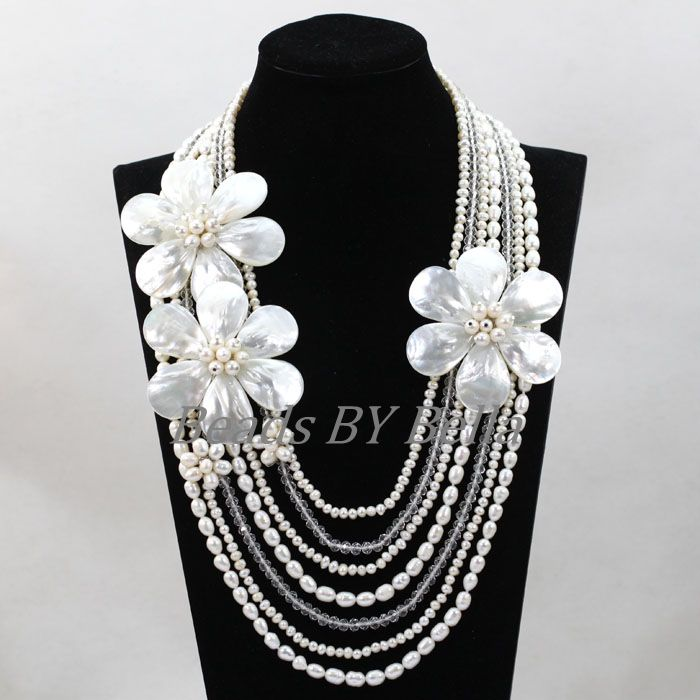 Graceful Handmade Shell Flowers Pearl Necklace Jewelry African Costume Jewellery Party Eveents Necklace Free Shipping ABL344