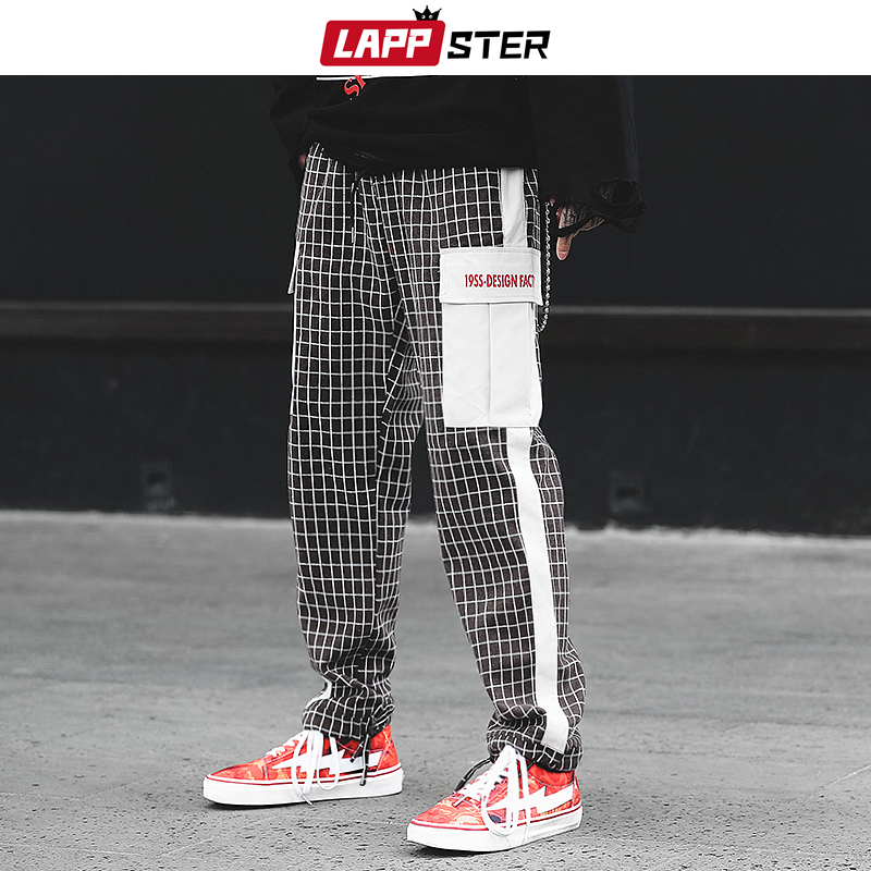 LAPPSTER Plaid Pants Men Patchwork Streetwear Joggers 2019 Hip Hop Plaid Black Sweatpants Casual Trousers Harajuku Harem Pants