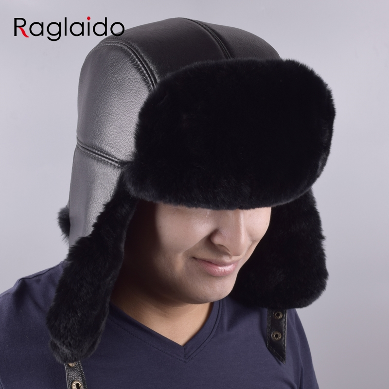 e86eb3c7077 Raglaido Russian Bomber Hats Panama Men s a cap Winter Snow Hat with ear  flaps made of fur Thick Warm ushanka Adjustable LQ11199-in Bomber Hats from  Apparel ...