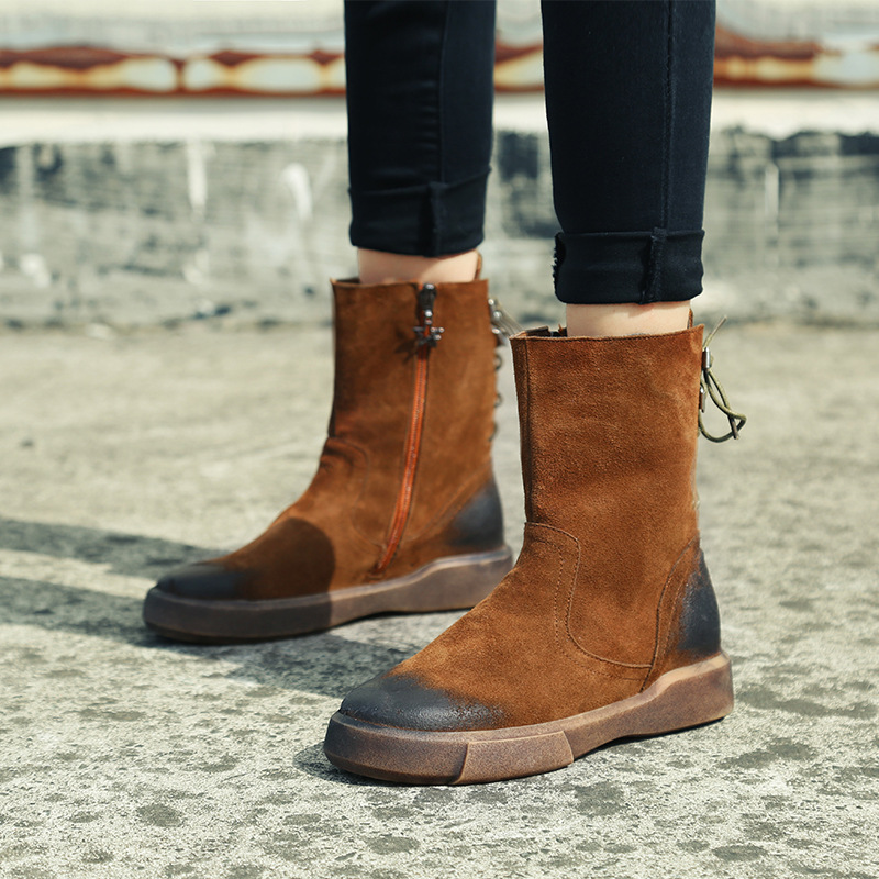 Vintage Equestrian Boots 2017 Winter Woman Boots Autumn Genuine Leather Flats Heels Ankle Boots Ladies Leather Botas Mujer Brown british style vintage men ankle boots genuine leather male tooling boots riding equestrian lace up autumn winter 2 5