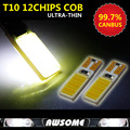 10x Super White T10 12Chips COB Canbus ErrorFree Wedge LED Car Interior Roof Dome Map Side Turn Singal Light Reverse Backup Lamp