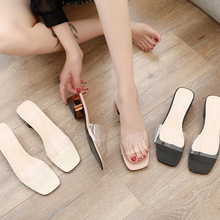 TXJ Summer Transparent Slippers Mules Slides Women Shoes Peep Toe Square Med Heels Clear Slippers Ladies Shoes Woman wetkiss new summer med heels women slippers 2018 fashion casual ladies mules shoes open toe square heels leather slides footwear
