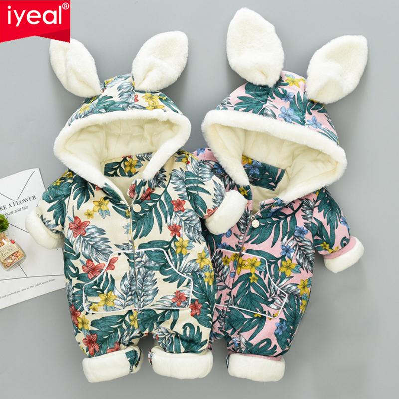 IYEAL 3D Rabbit Ears Hooded Baby Rompers Winter Thicken Boys Costume Girls Warm Infant Snowsuit Kid Jumpsuit Children Outerwear iyeal baby rompers warm soft flannel winter baby clothes cartoon animal 3d ears children girls jumpsuit newborn infant romper