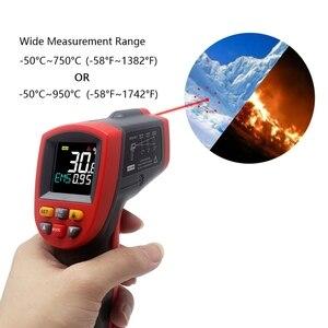 Image 3 - דיגיטלי מדחום אינפרא אדום אדום לייזר טמפרטורת מד גלאי ללא מגע IR Pyrometer טמפרטורת LCD מד אקדח נקודה