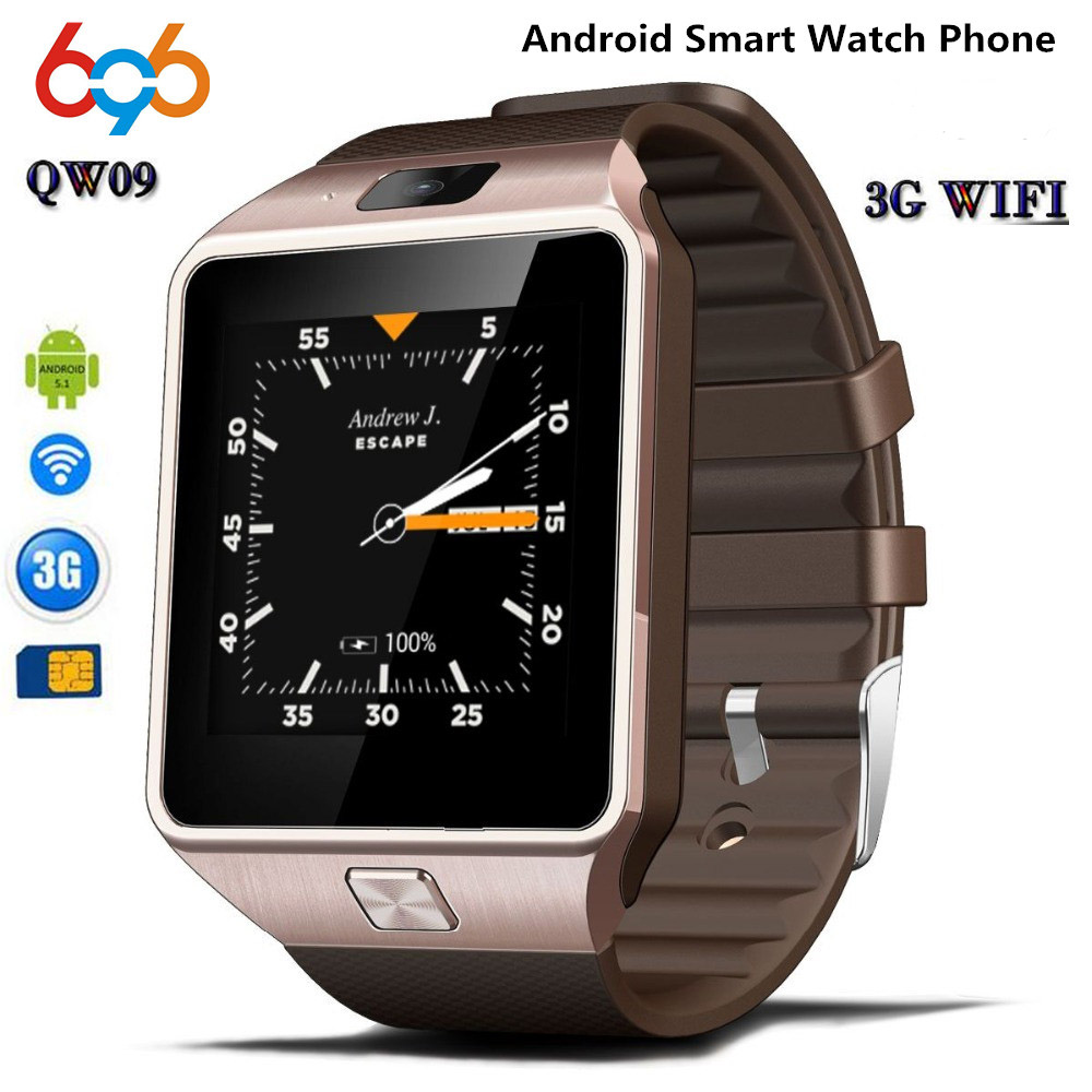 696 3G WIFI QW09 Android Montre Smart Watch Bluetooth 4.0 Réel-Podomètre Carte SIM Appel Anti-perte Smartwatch PK DZ09 GT08