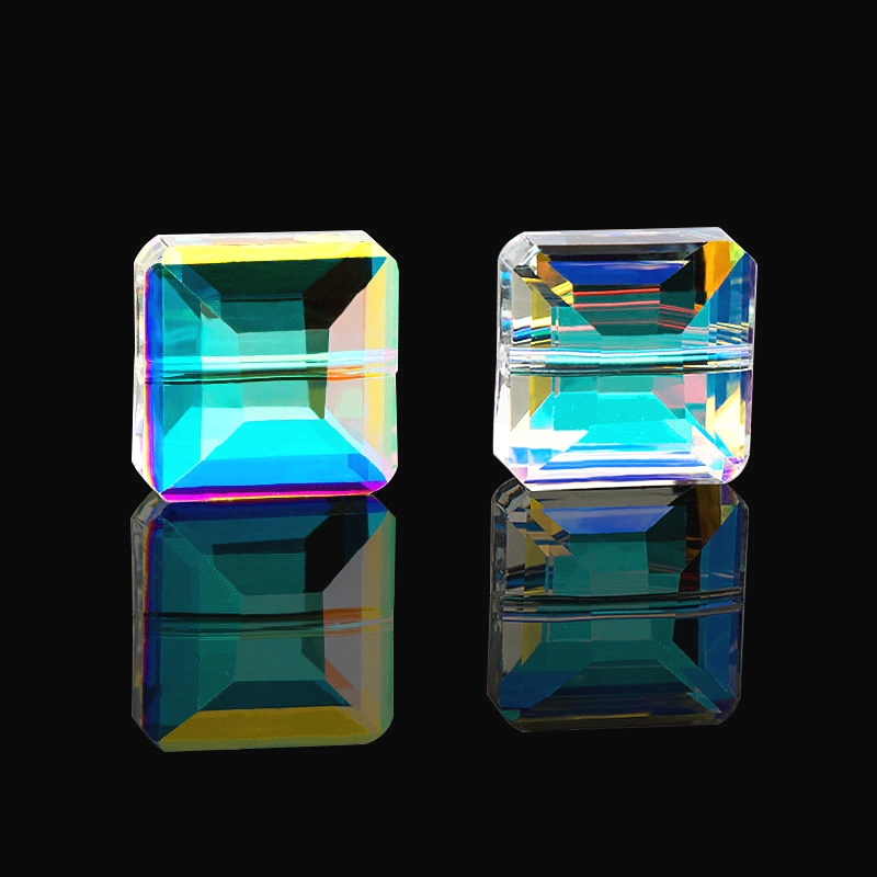 Glass-Beads Jewelry-Making Faceted Square-Shape Crystal 10mm for 10PCS Super-Shiny