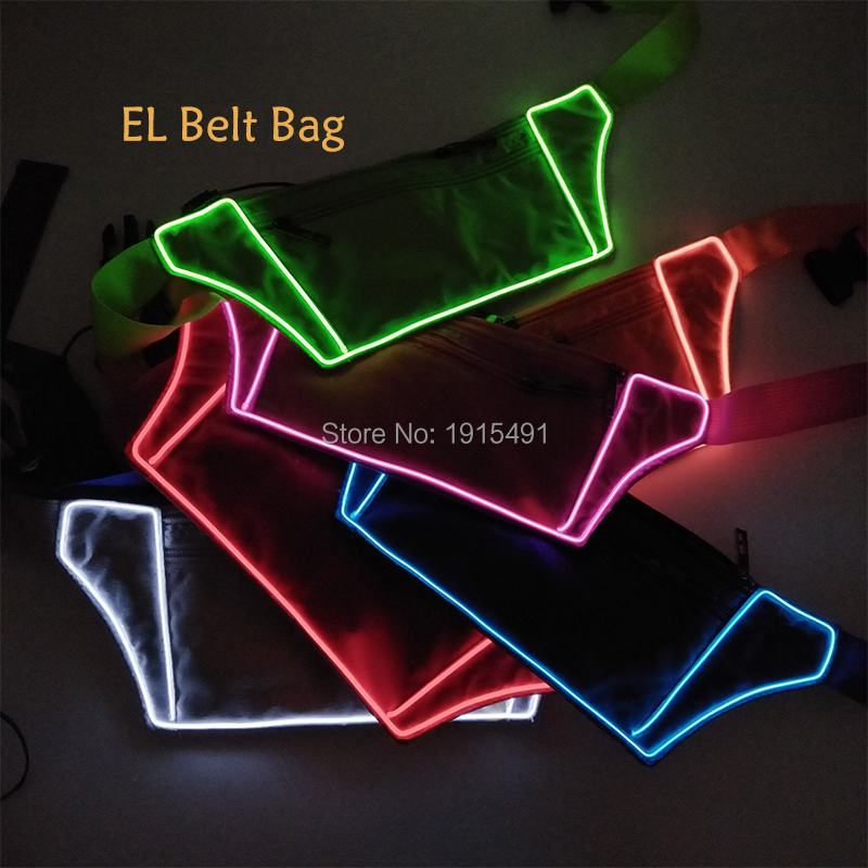 Newest EL Wire Travel Belt Packs Fanny Waist Bag Wallet Casual Phone Pouch Pockets Men Led Strip Flash Sport Purse for Nighttime