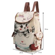 Cute Cat Backpack Women Canvas Backpack