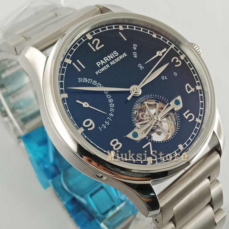 Męski luksusowy zegarek Parnis 43mm stalowy pasek rezerwa chodu mewą 2505 automatyczny męski mechaniczny zegarek moda prezent
