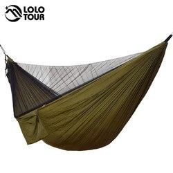 Hamaca doble Hamaca de mosquitera de fácil instalación 290*140 cm con clavos de cuerda de viento Hamaca portátil para Camping Patio de viaje