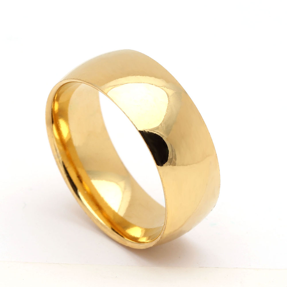8mm Gold Color Smooth 316L Stainless Steel Wedding Engagement Rings For Women Titanium Finger