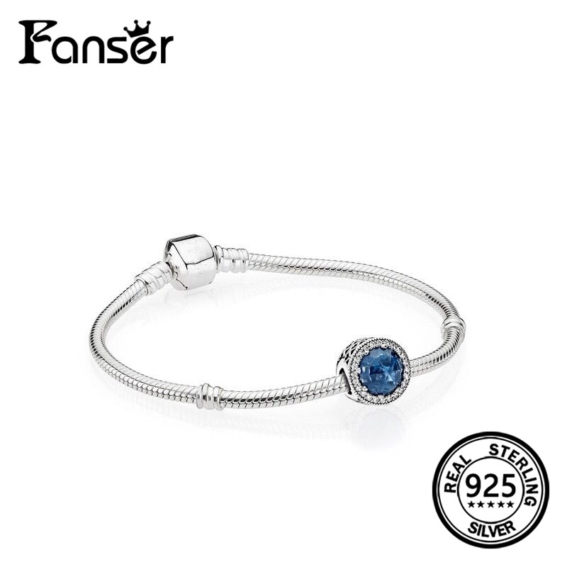 FANSER Romantic Deep Blue stars Shining Bracelet Geniune 100% S925 Pure Silver Pandor Original Copy Has Logo Female Gift Jewelry