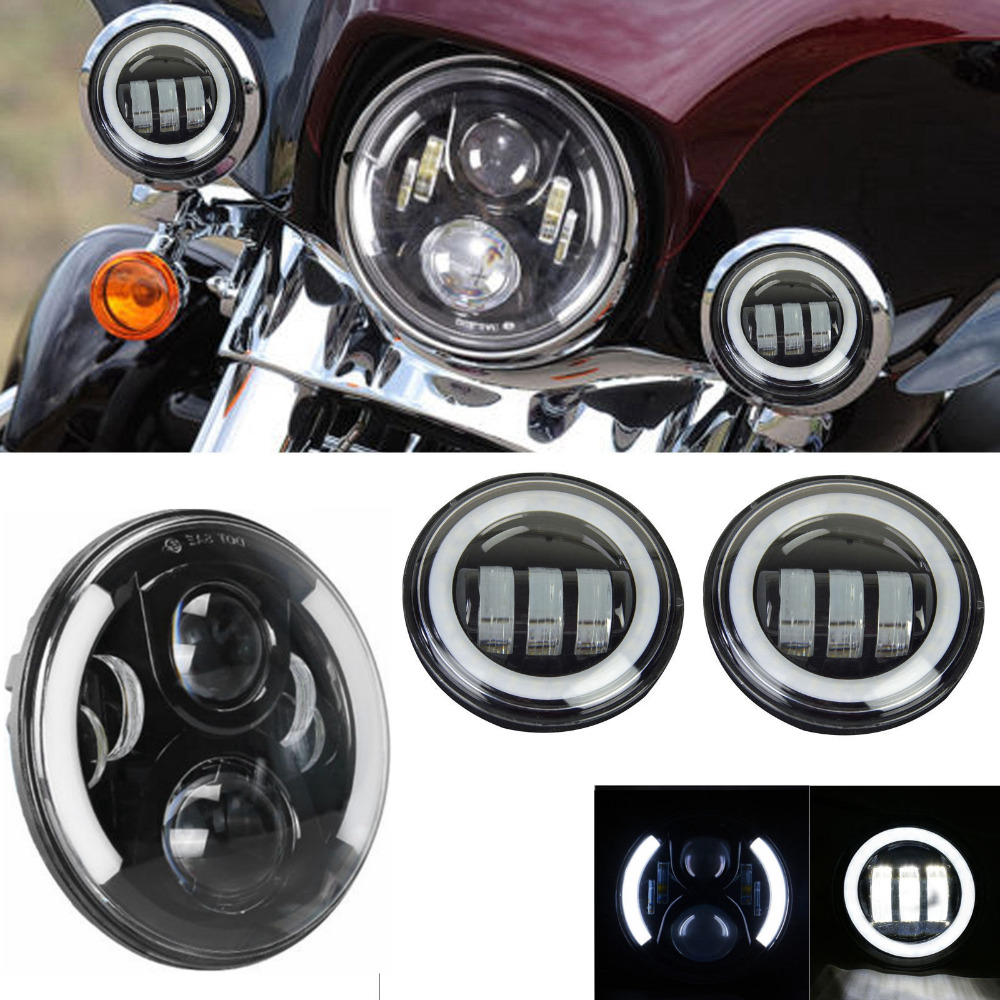 7 Inch Motorcycle Daymaker LED Headlight with White Halo DRL + 2pcs 4-1/2 Fog Lights With White Halo for Harley Davidson