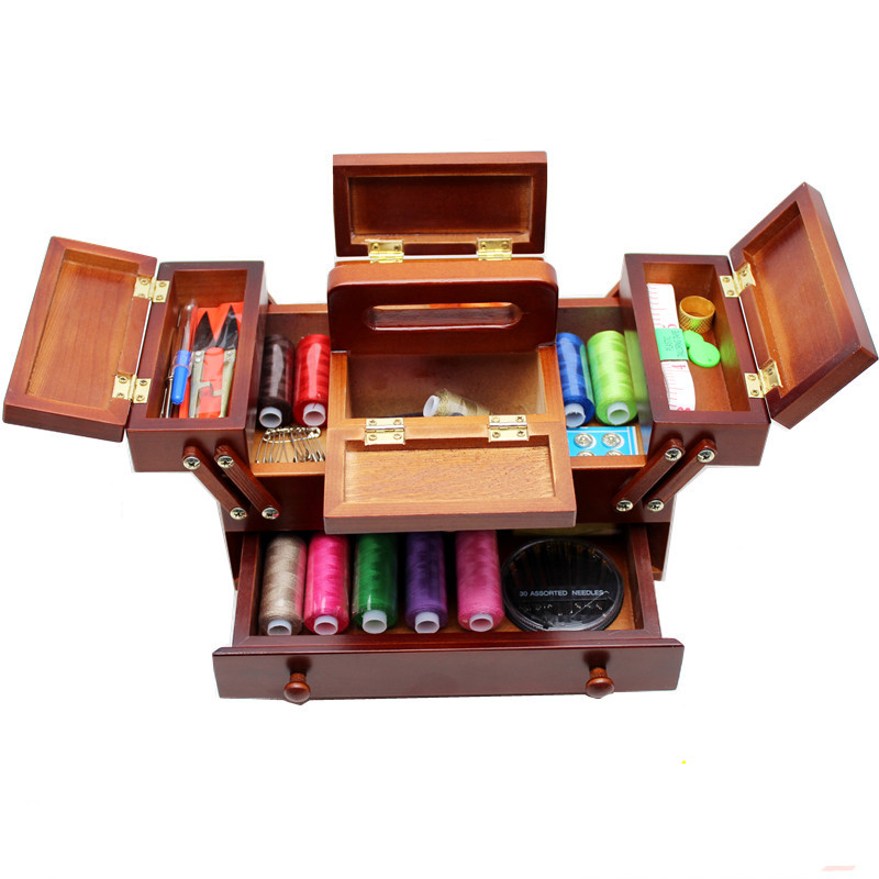 Natural wood sewing box Polyester Sewing thread Needlework Knitting Patch Organizer Storage box sewing case with