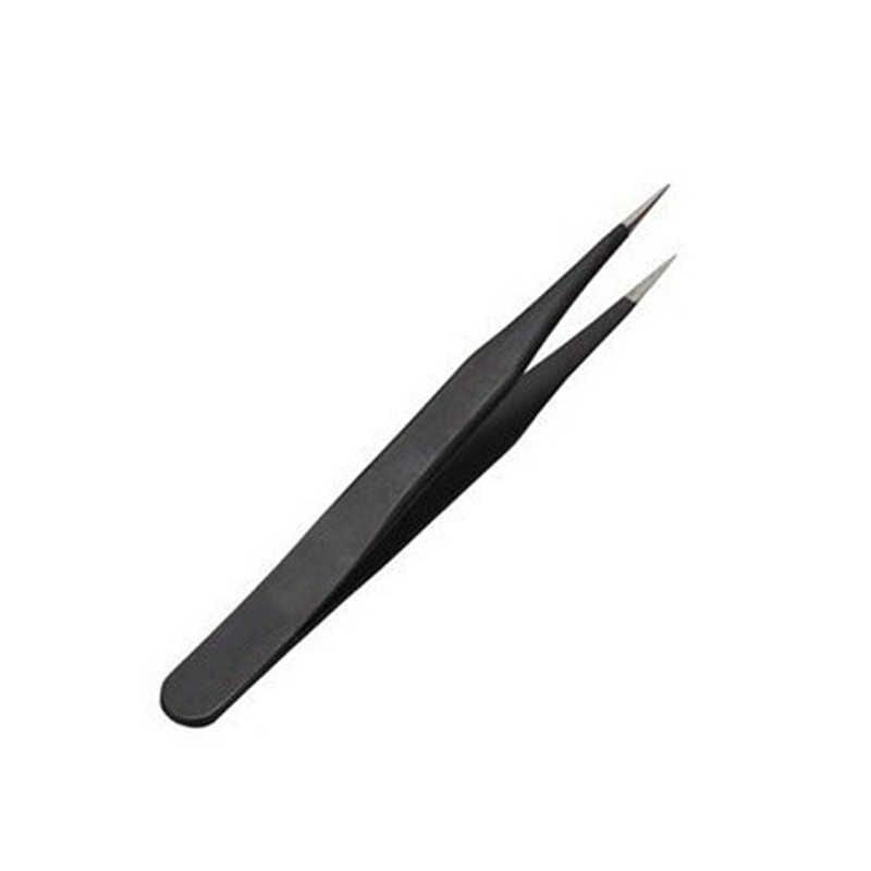 1ピースネイルアートアクリルツールラインストーン宝石の装飾黒ストレートヘッド眉毛ピンセット高品質obgk