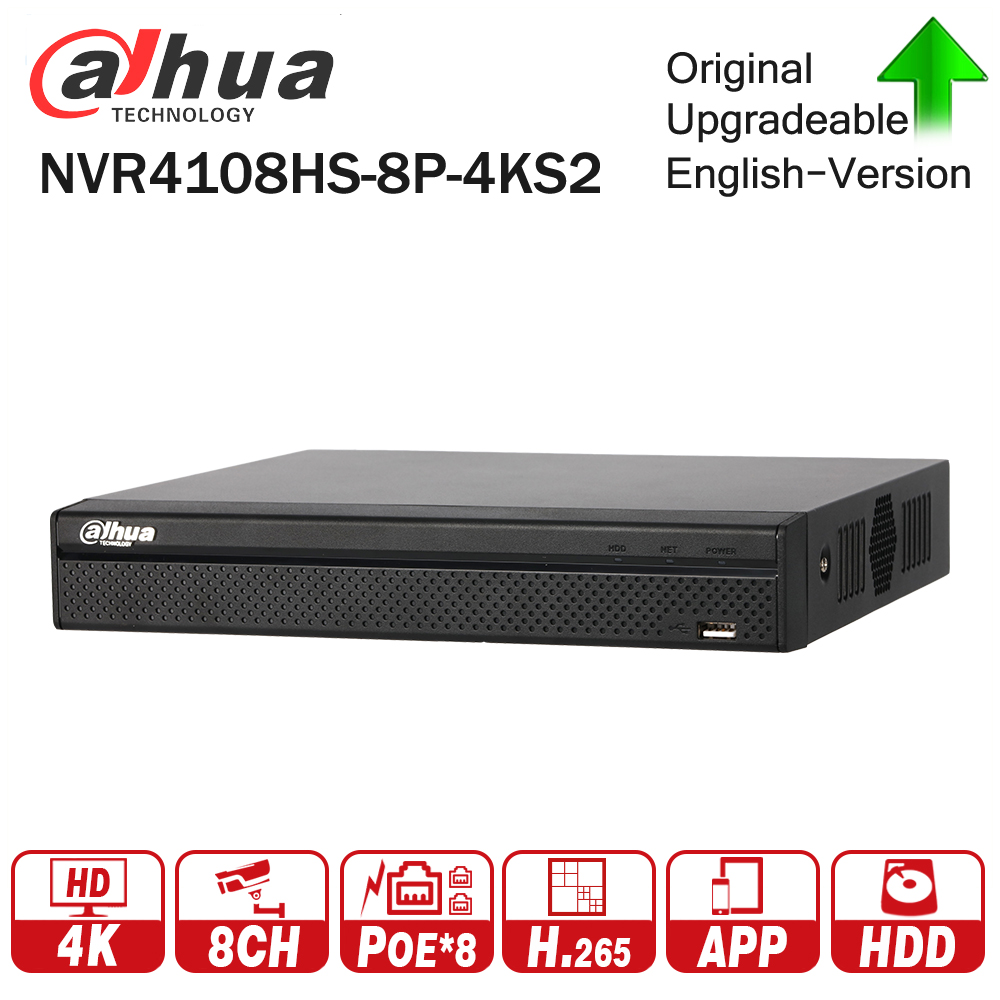 Dahua NVR4108HS-8P-4KS2 with 8ch PoE Port H.265 Video Recorder Support ONVIF CGI Metal POE NVR for Dahua Security CCTV system dahua network video recoder nvr4208 8p hds2 nvr4216 16p hds2 8 16ch nvr support onvif poe nvr recorder for poe camera