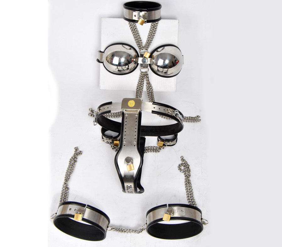 5 pcs/set stainless steel female chastity belt+thigh ring+slave collar+bra+handcuffs,bdsm bondage fetish wear sex toys for woman stainless steel 3pcs set female chastity belt bra thigh ring fetish wear bdsm bondage restraints kit for woman sex products