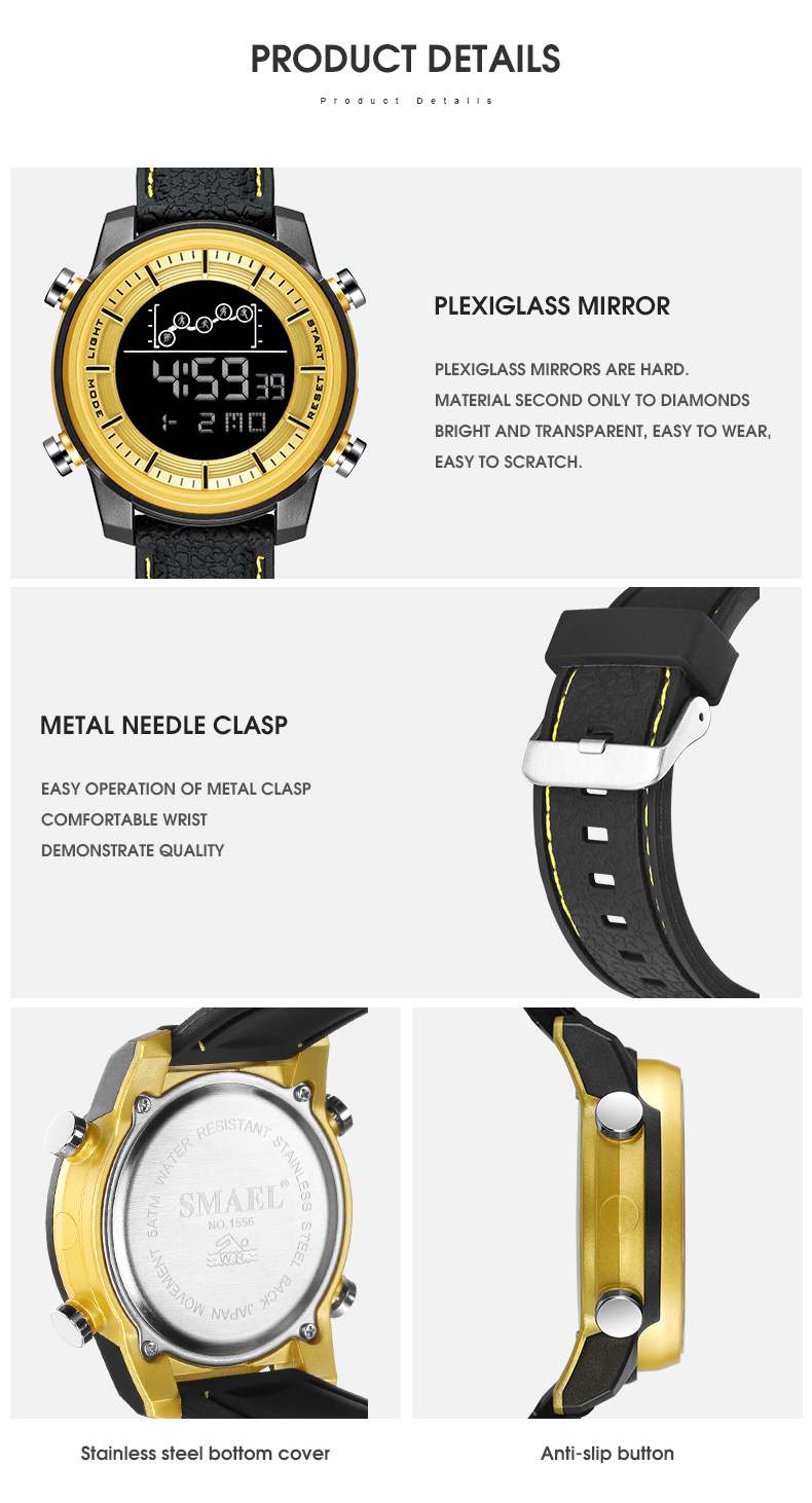 SMAEL Quartz Men's Watches lovers Oversize LED Digital Fashion watch S waterproof luxurious 1556 stainless steel for male watch 5