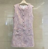 HAMALIEL Tweed Pink Women Dress 2018 Autumn Winter Wool Blends Sleeveless Single Breasted Pearl Casual O Neck Tassel Vest Dress