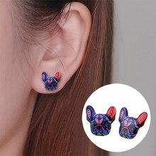 Boucles d'oreilles animaux colorés pour femmes, nouvelle mode, bouledogue français, chiot, chien, OED046, 2020