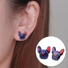 Shuangshuo 2017 New Fashion Colorful Animal Stud Earrings French Bulldog Earring
