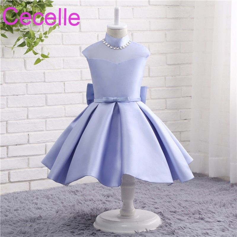 Lavender Ball Gowns Short Flower Girls Dress For Wedding Sleeveless ...