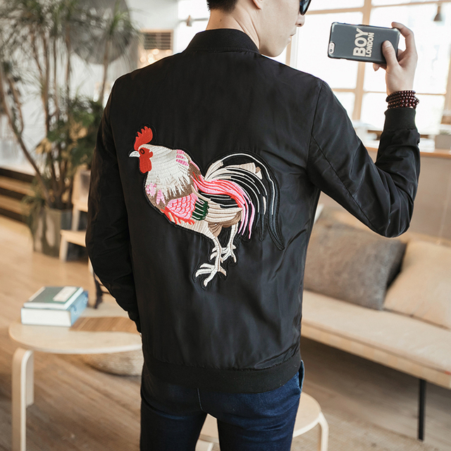 2017 Brand Men Bomber Jacket New Spring Chinese Style Mens Cock Embroidery Casual Jackets Slim Fit Mens Coats Windbreaker Jacket