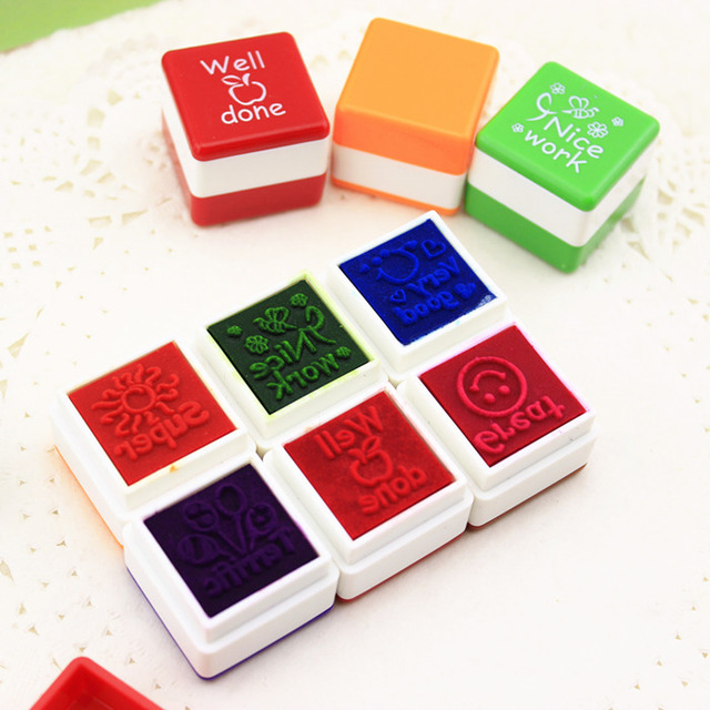 6PCS Lot Invigorative Words Children Stamp Teacher Parents Comment Self Inking Rubber Stamps Gift For Kids